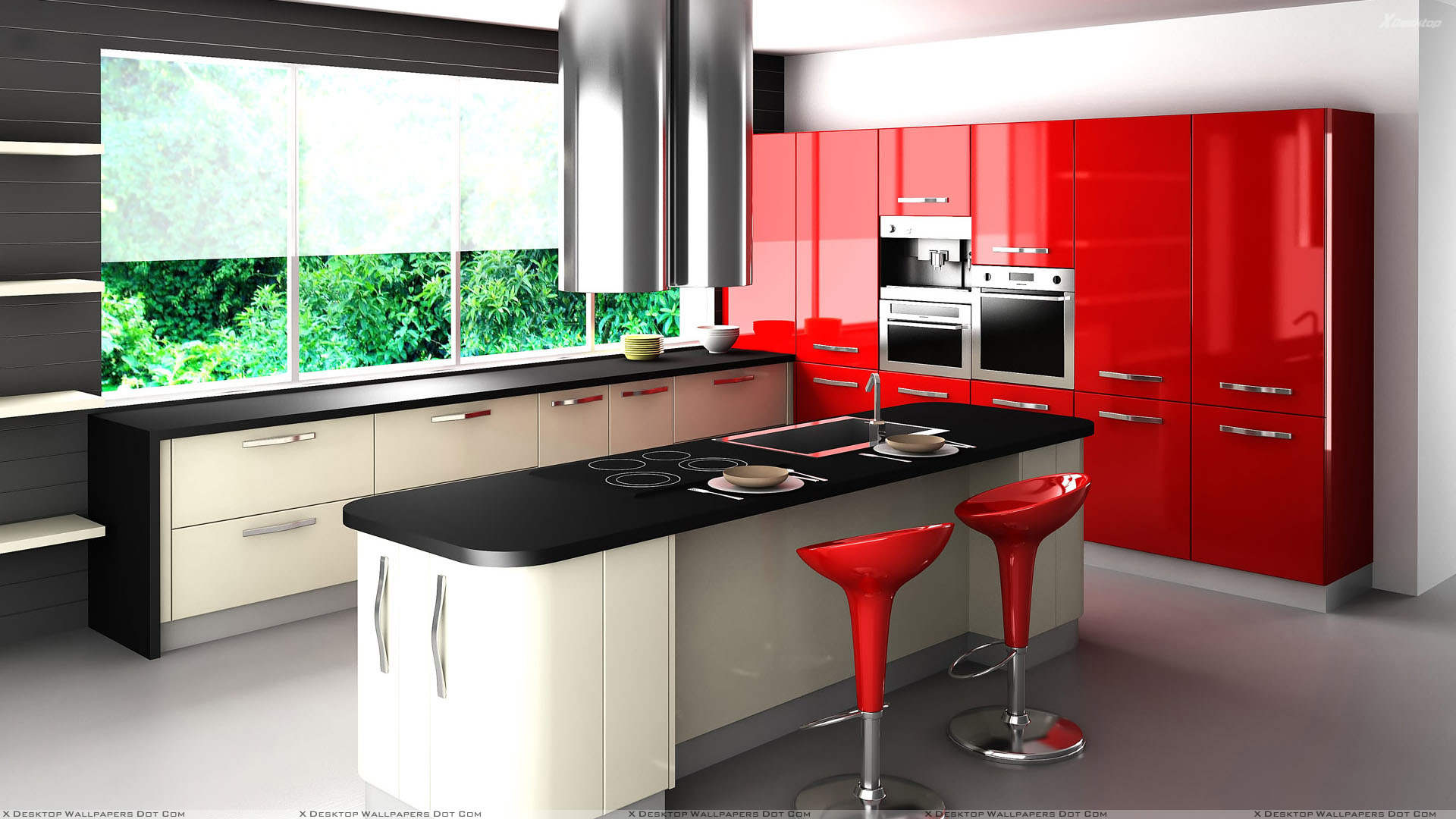 Black And Red Interior In Kitchen Wallpaper