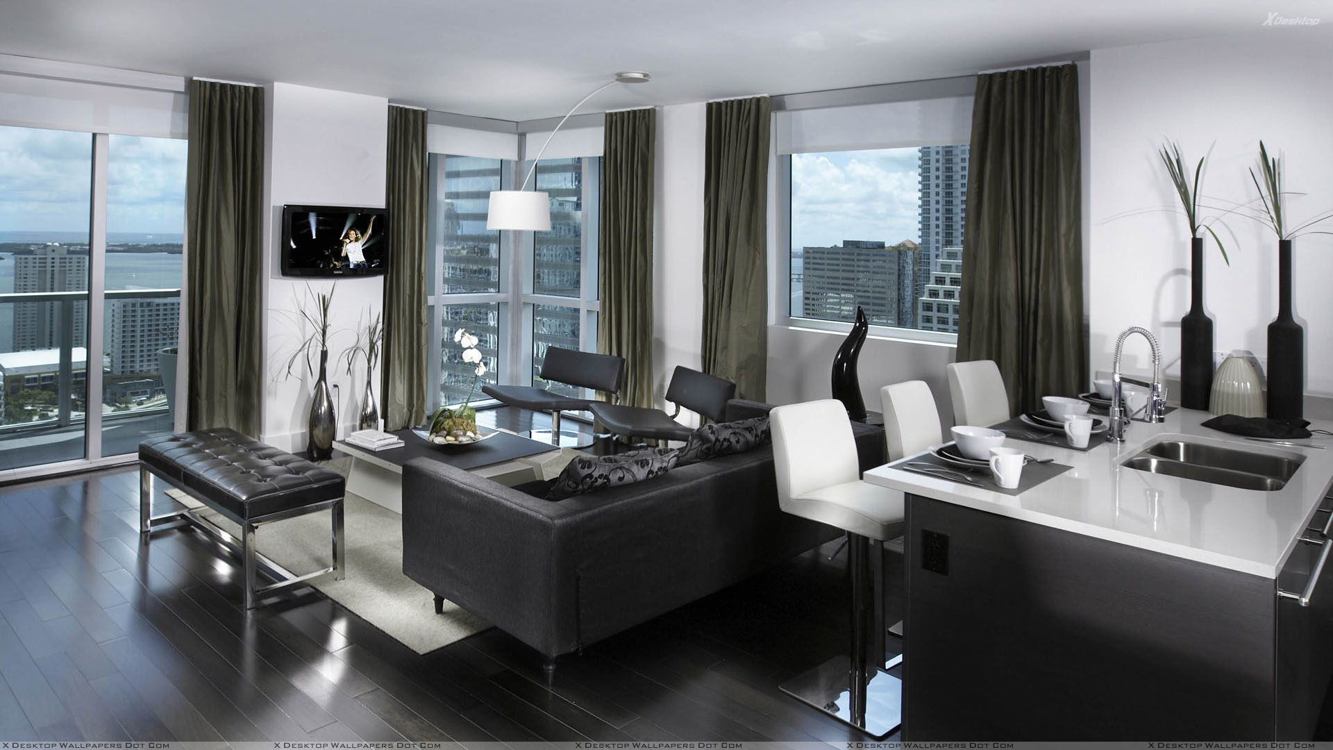 Black and white nice apartment interior wallpaper for Nice living room design
