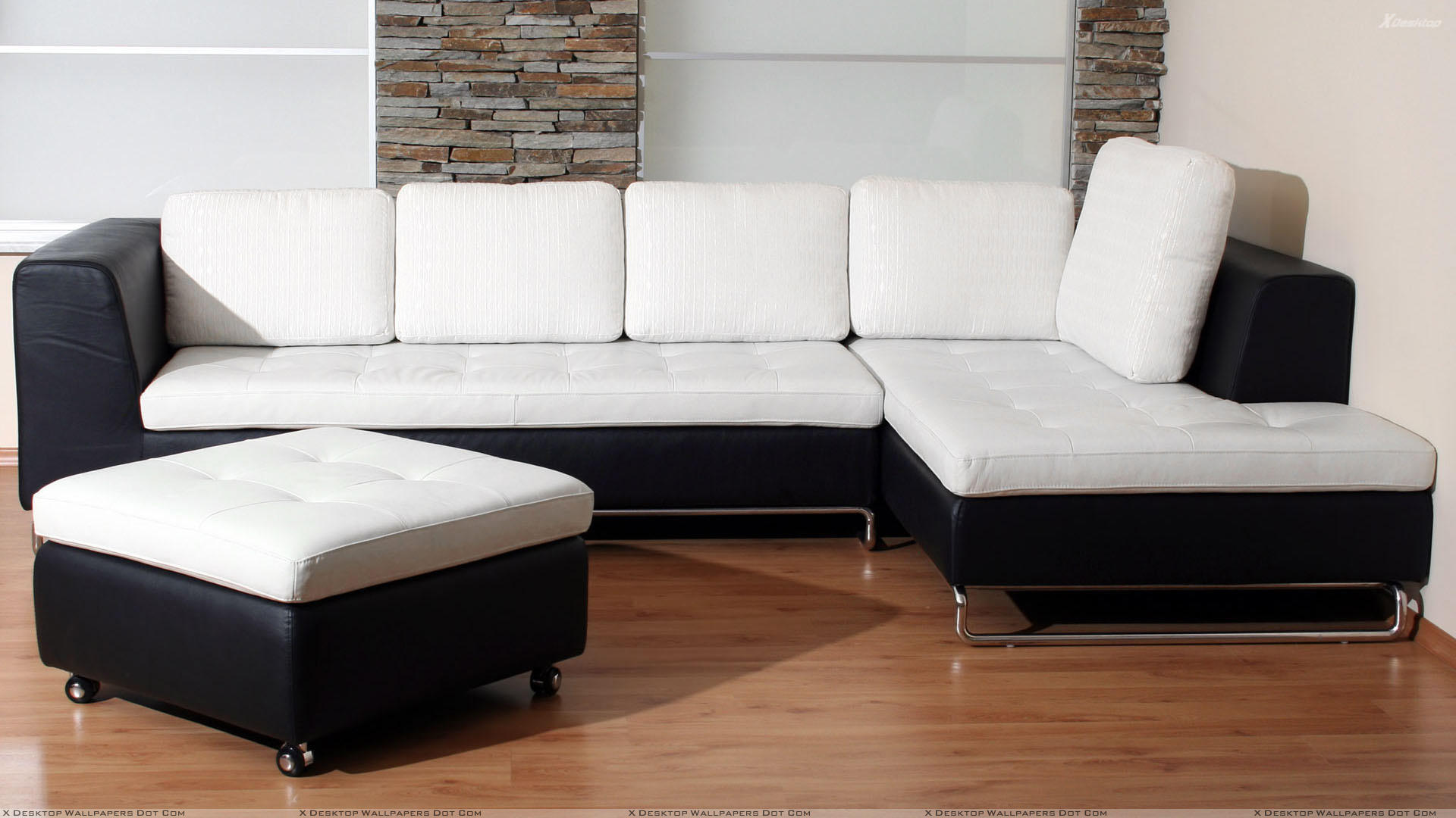 Black and white sofa set with brown floor wallpaper for Family room sofa sets