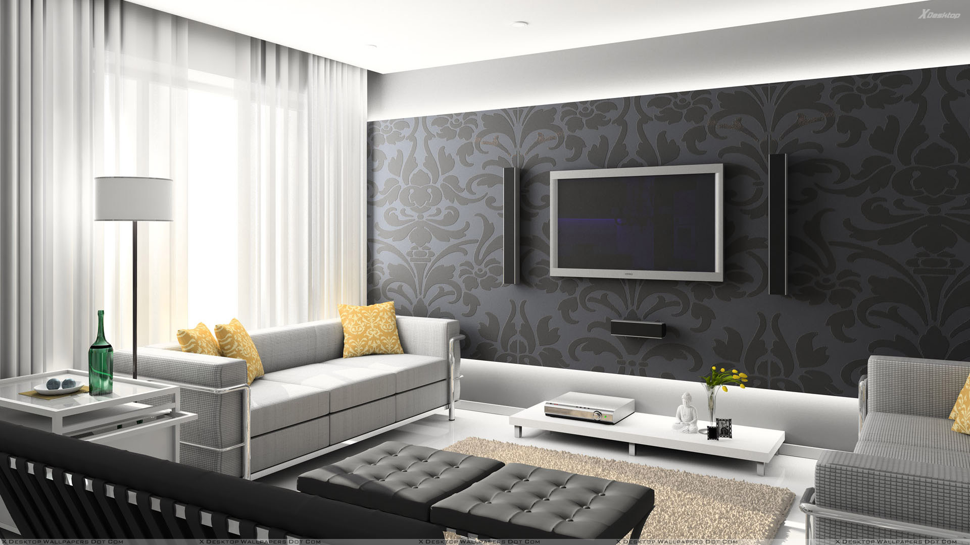 Black digital interior and home theater room wallpaper for Wall papers for rooms