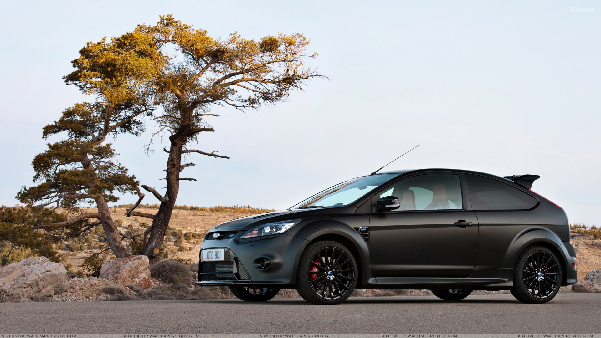 Ford Focus Rs500 Side Pose In Black Wallpaper