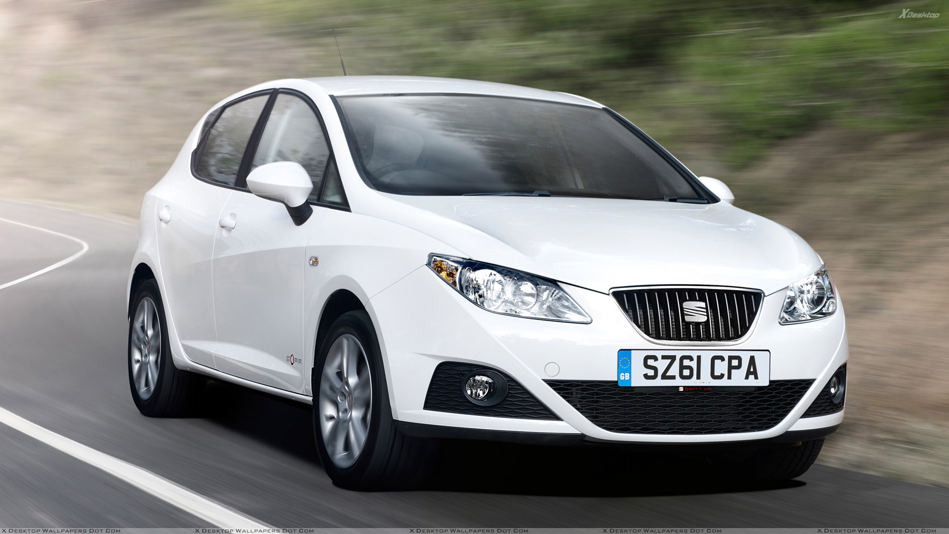 running 2012 seat ibiza 5 door se copa in white front pose wallpaper. Black Bedroom Furniture Sets. Home Design Ideas
