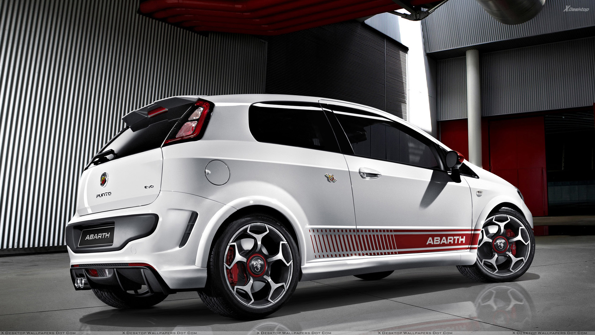 side pose of 2010 abarth punto evo in white wallpaper. Black Bedroom Furniture Sets. Home Design Ideas