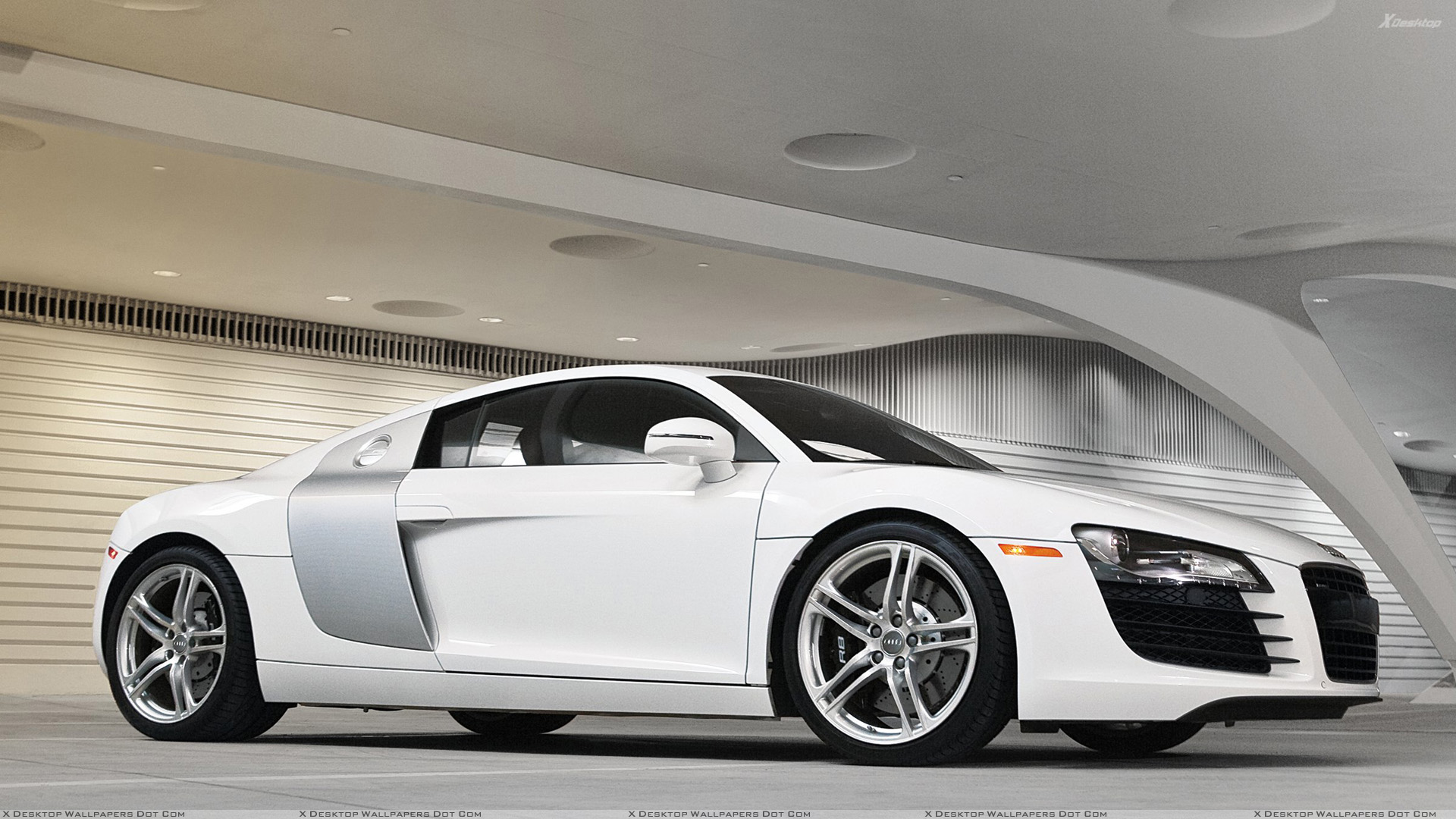 side pose of audi r8 in white wallpaper