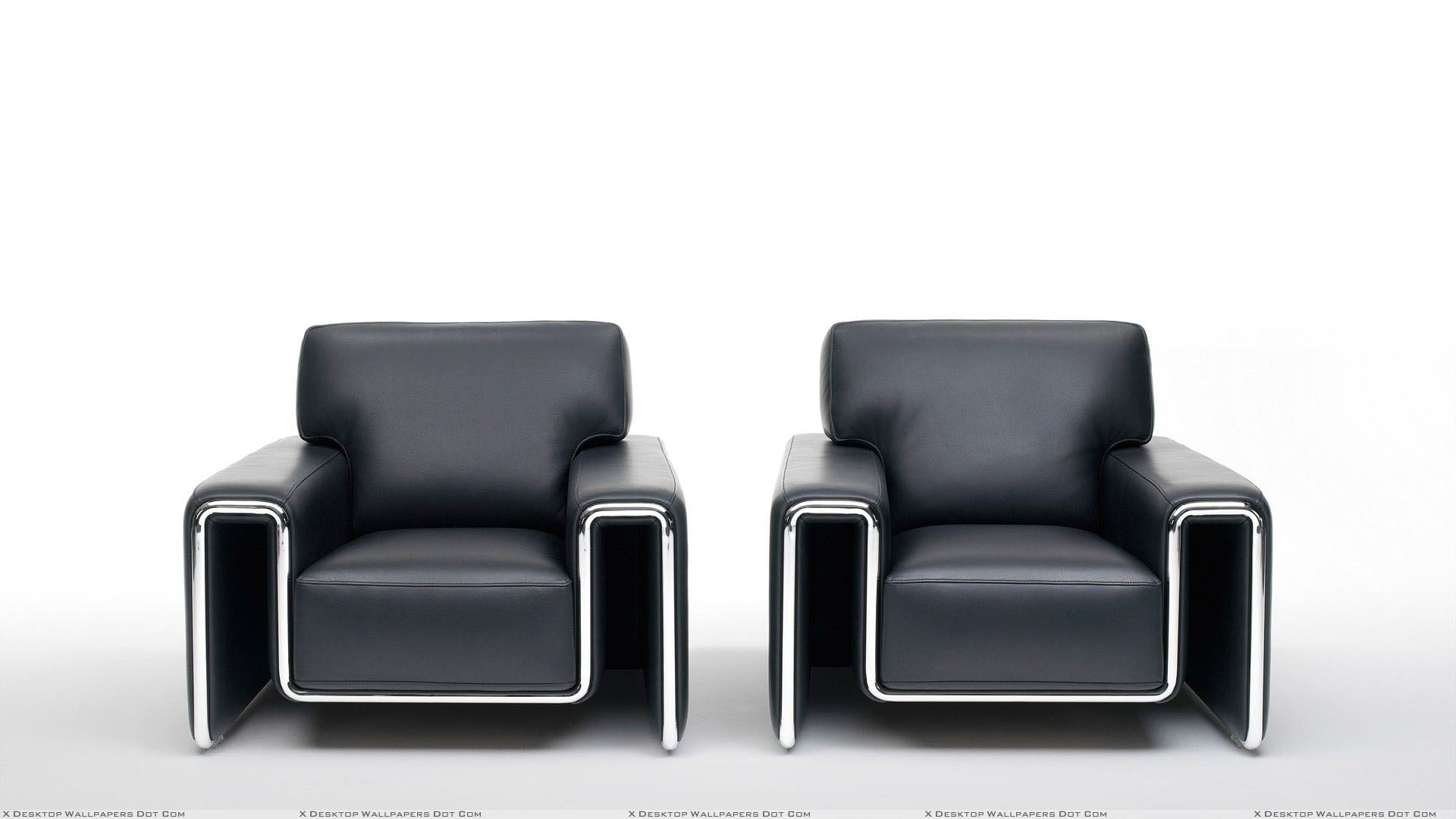 Black Two Sofa And White Background Wallpaper