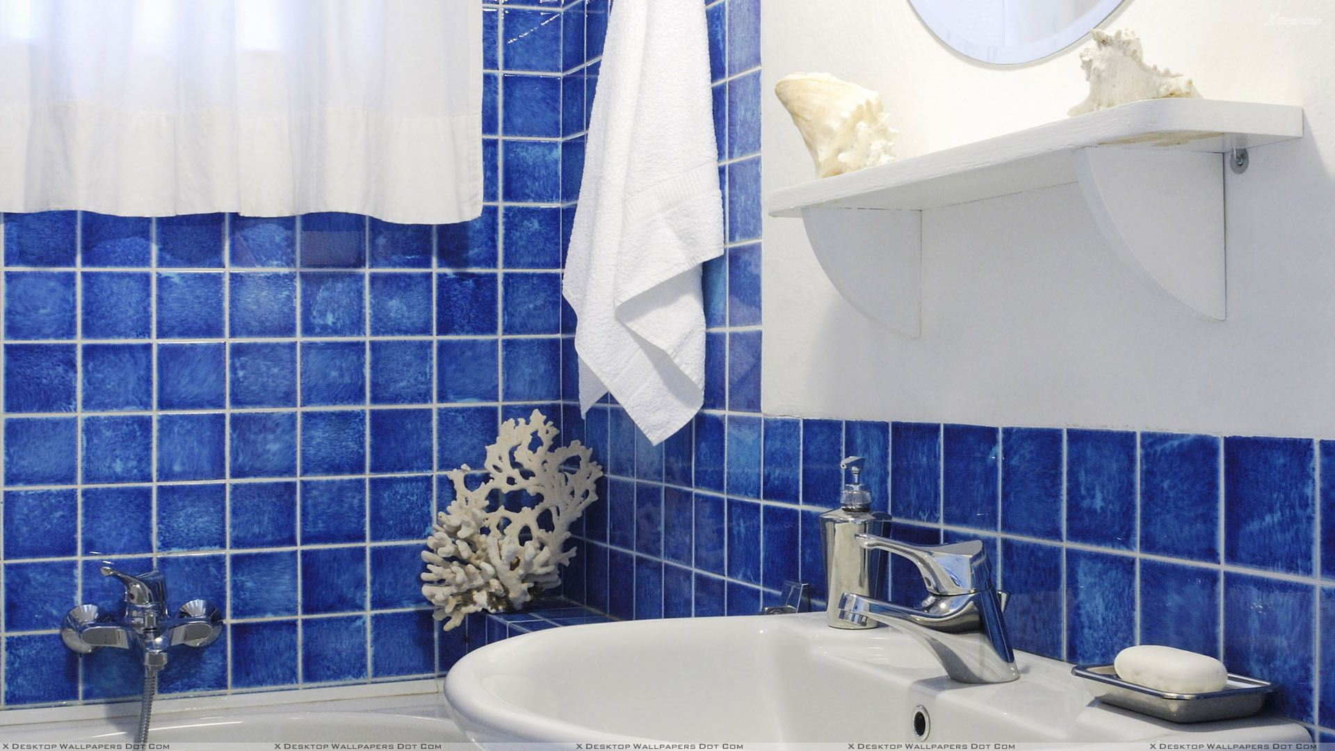 Blue White Bathroom GraNpriX For Blue Interior In Bathroom And White Sink  Closeup Wallpaper