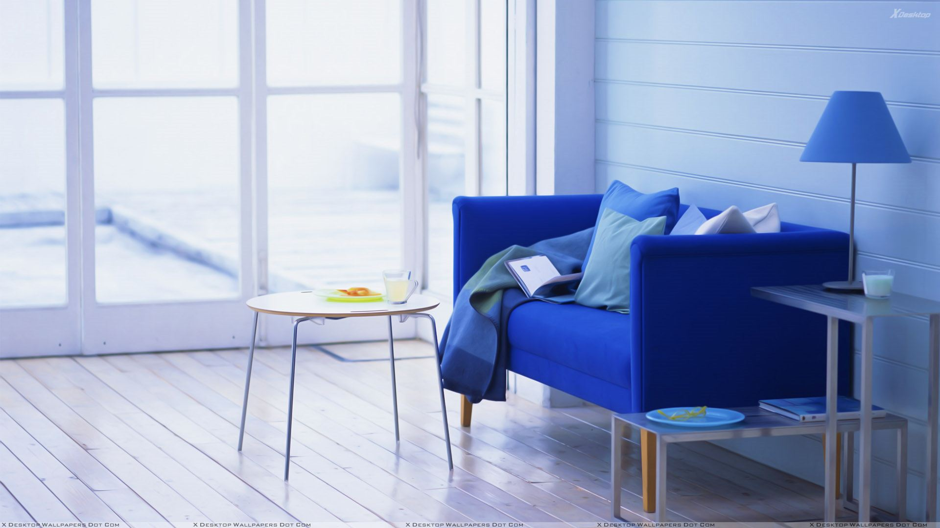 Blue Sofa And Table In Study Room Wallpaper