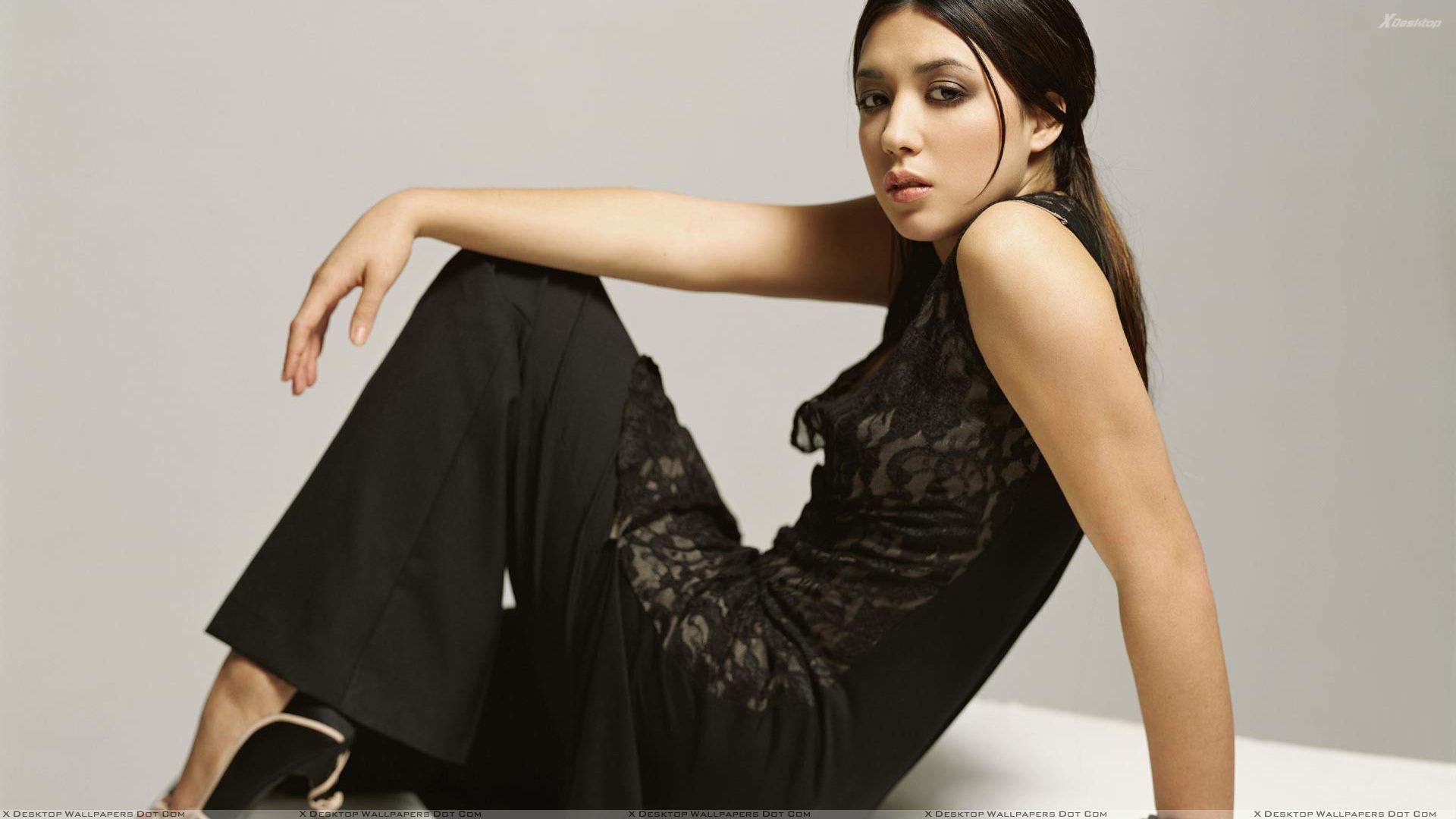 Michelle Branch Sitting Pose In Long Black Dress Side Pose ...