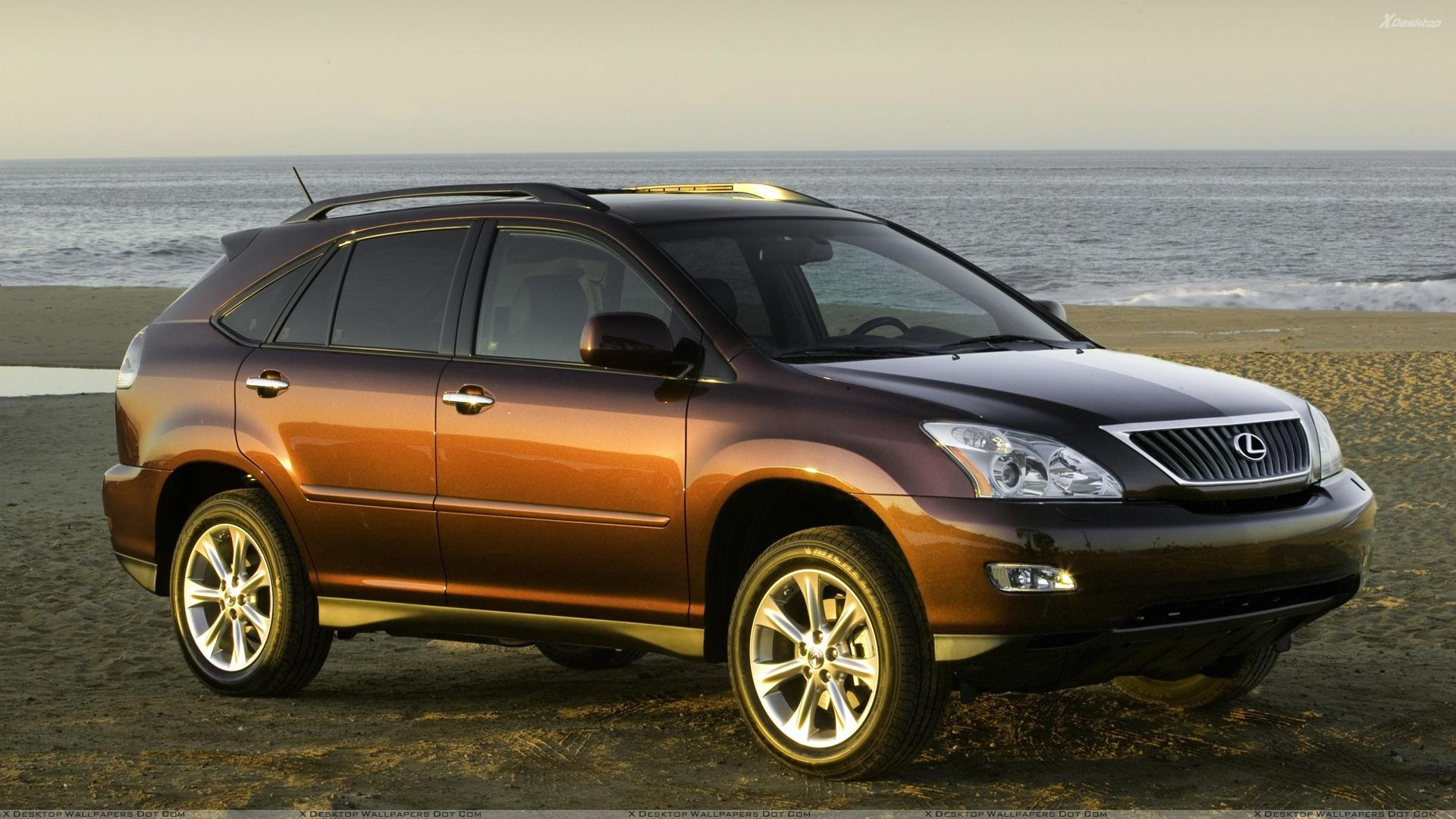 2009 Lexus RX 350 In Brown At Sea Side Photoshoot Wallpaper