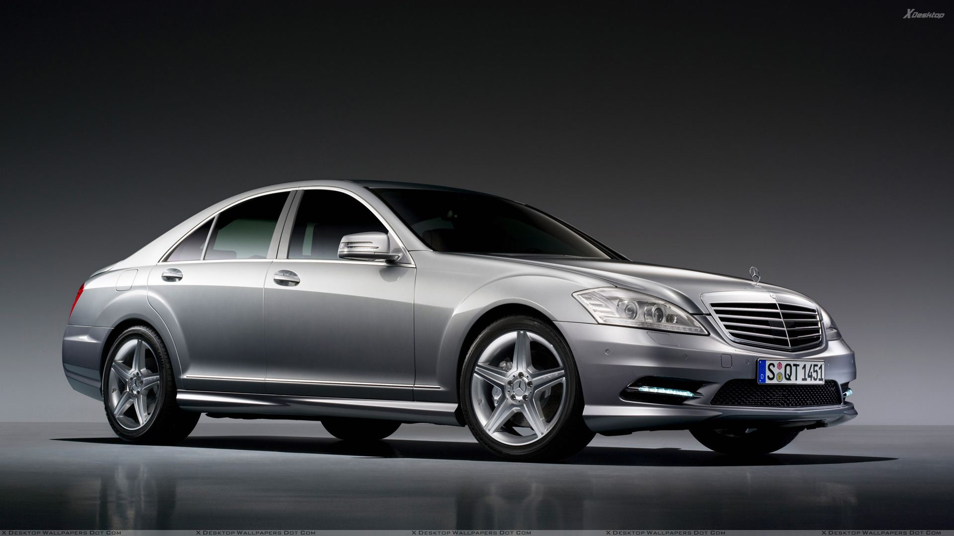 2009 mercedes benz s500 side front pose in grey wallpaper