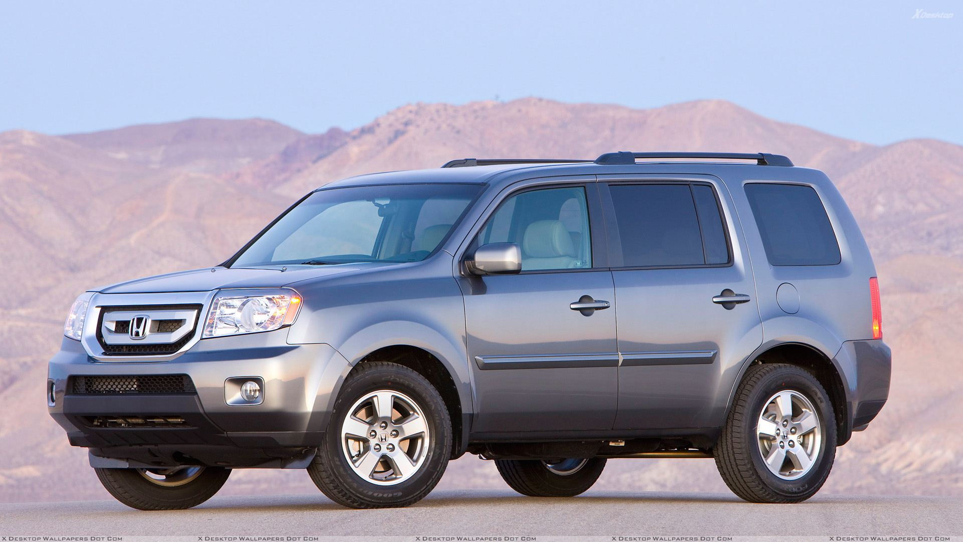 2010 honda pilot in grey near mountains wallpaper