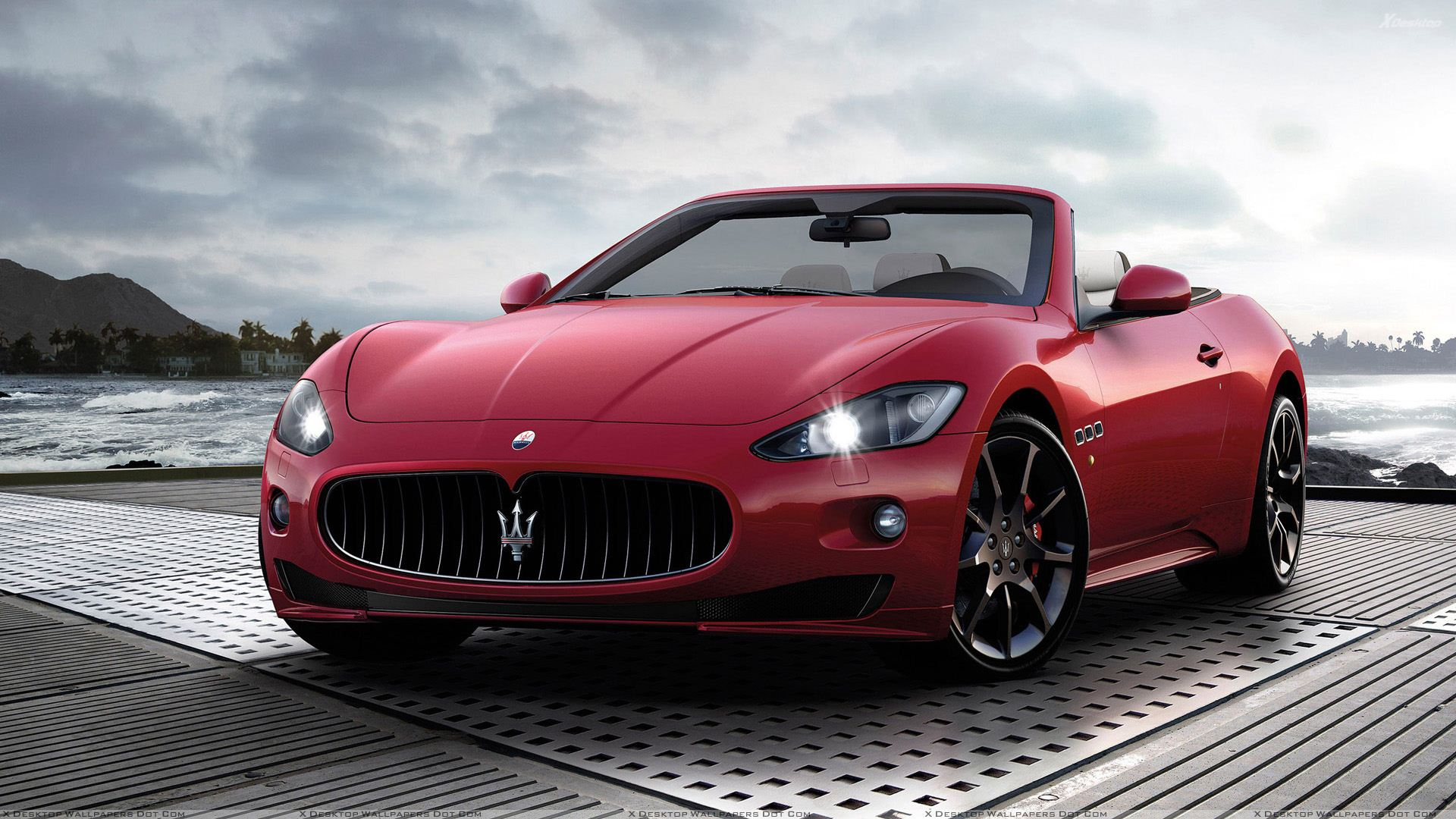 2012 maserati grancabrio sport in red color wallpaper. Black Bedroom Furniture Sets. Home Design Ideas