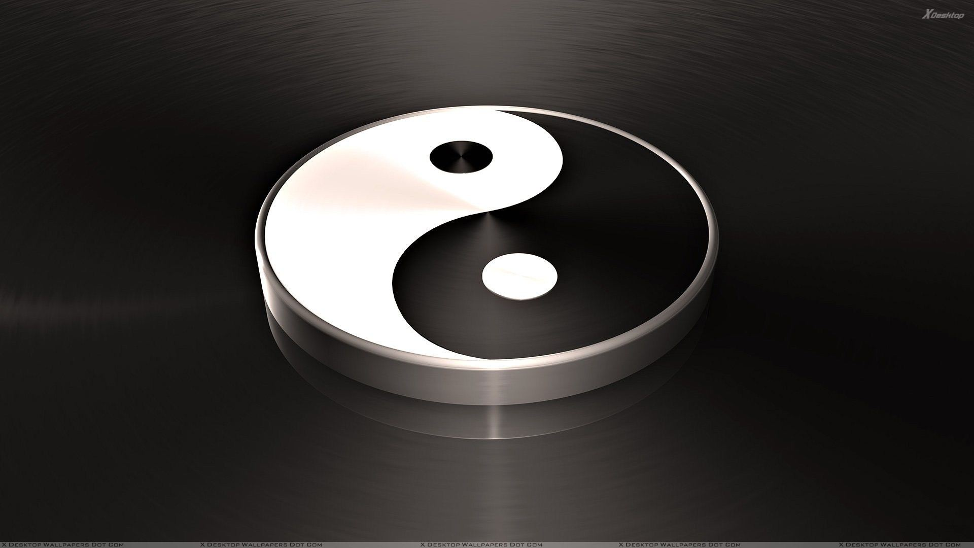 3d Yin Yang On Black Background Wallpaper