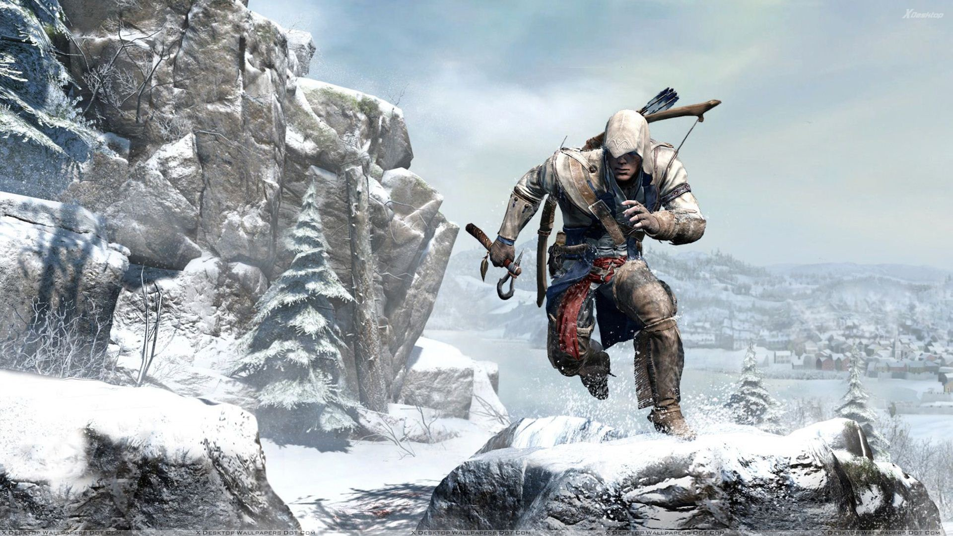 Assassins Creed 3 Running On Snowy Mountain Wallpaper