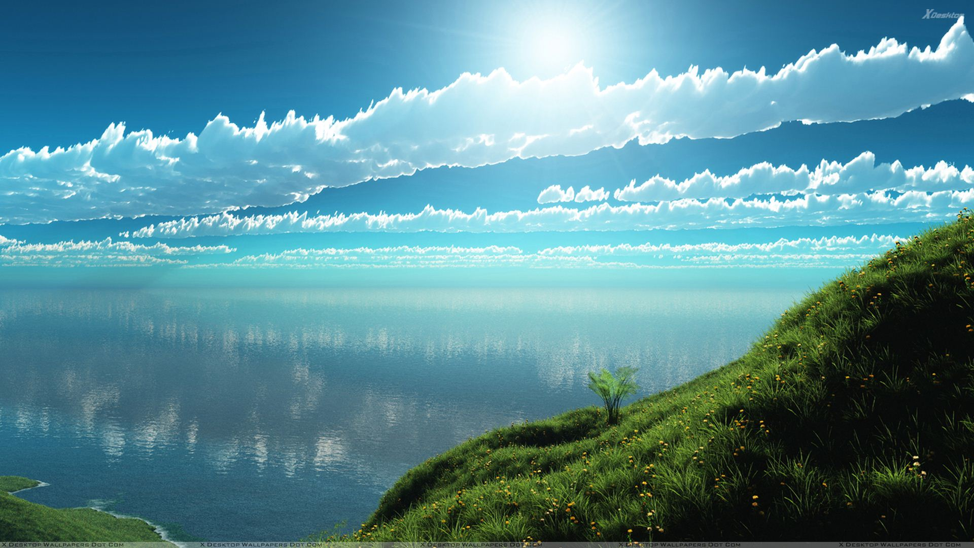 Beautiful Morning Scene Near Sea Wallpaper