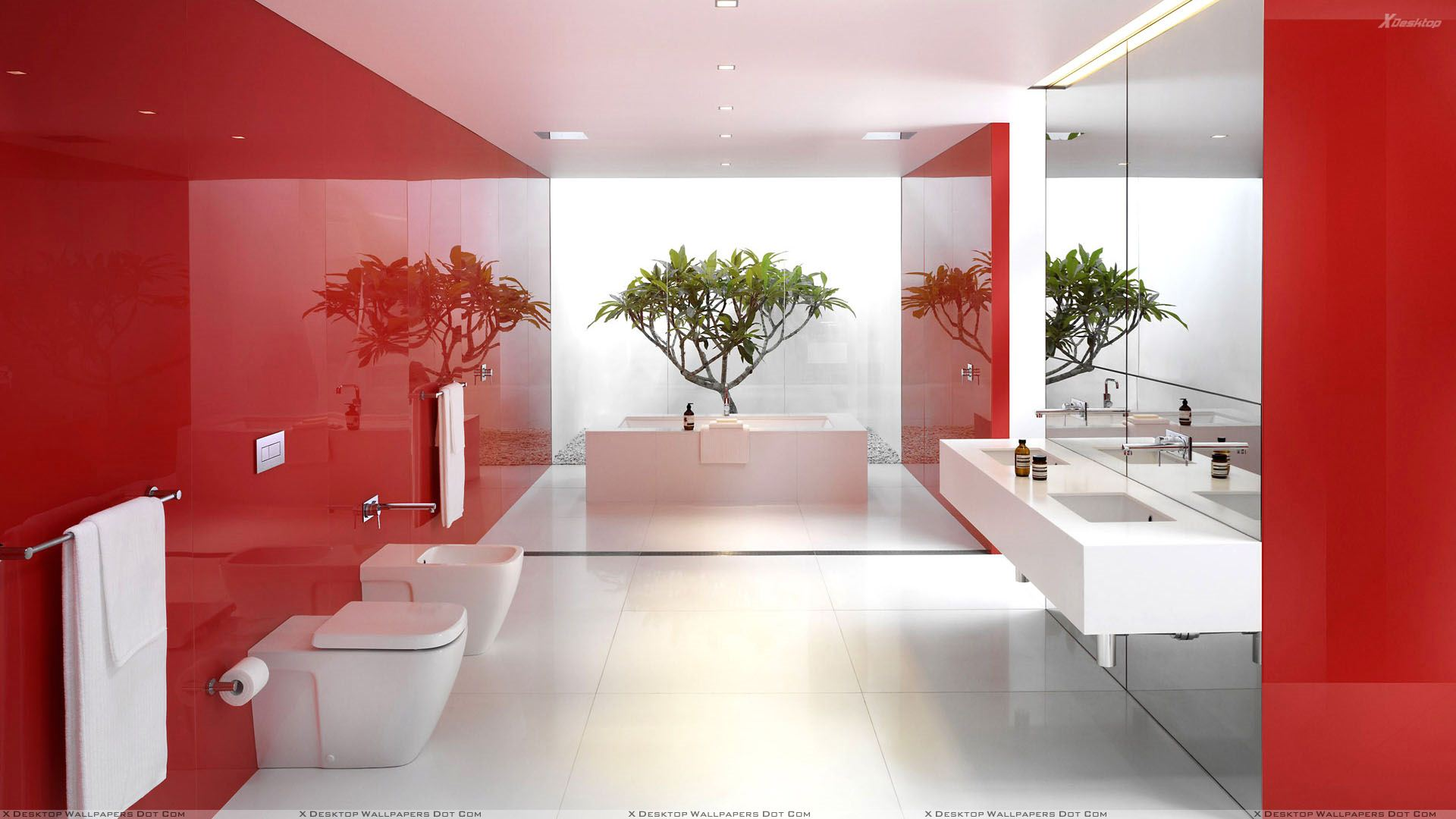 Beautiful Red White Bathroom Interior Wallpaper