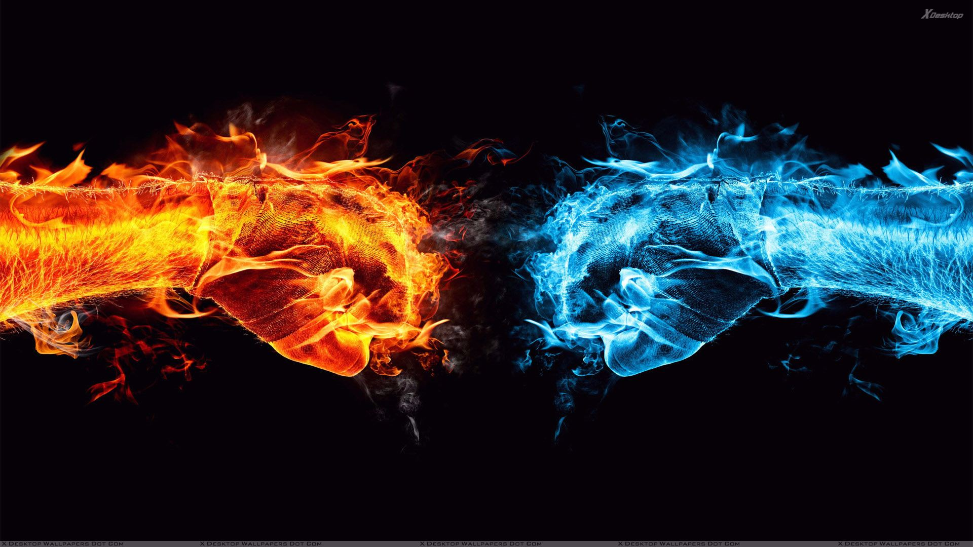 Cool Vs Hot Fists On Black Background Wallpaper