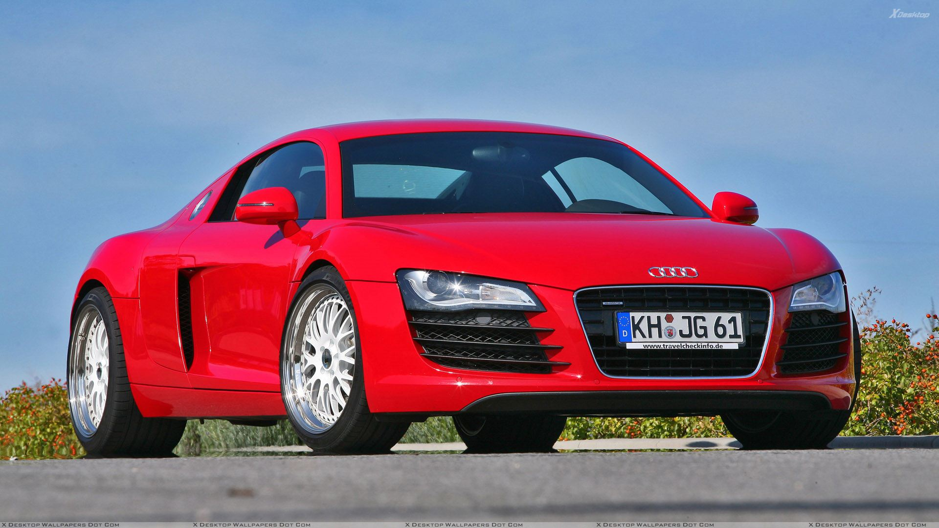 Mfk Autosport Audi R8 Front Side Pose In Red Color Wallpaper