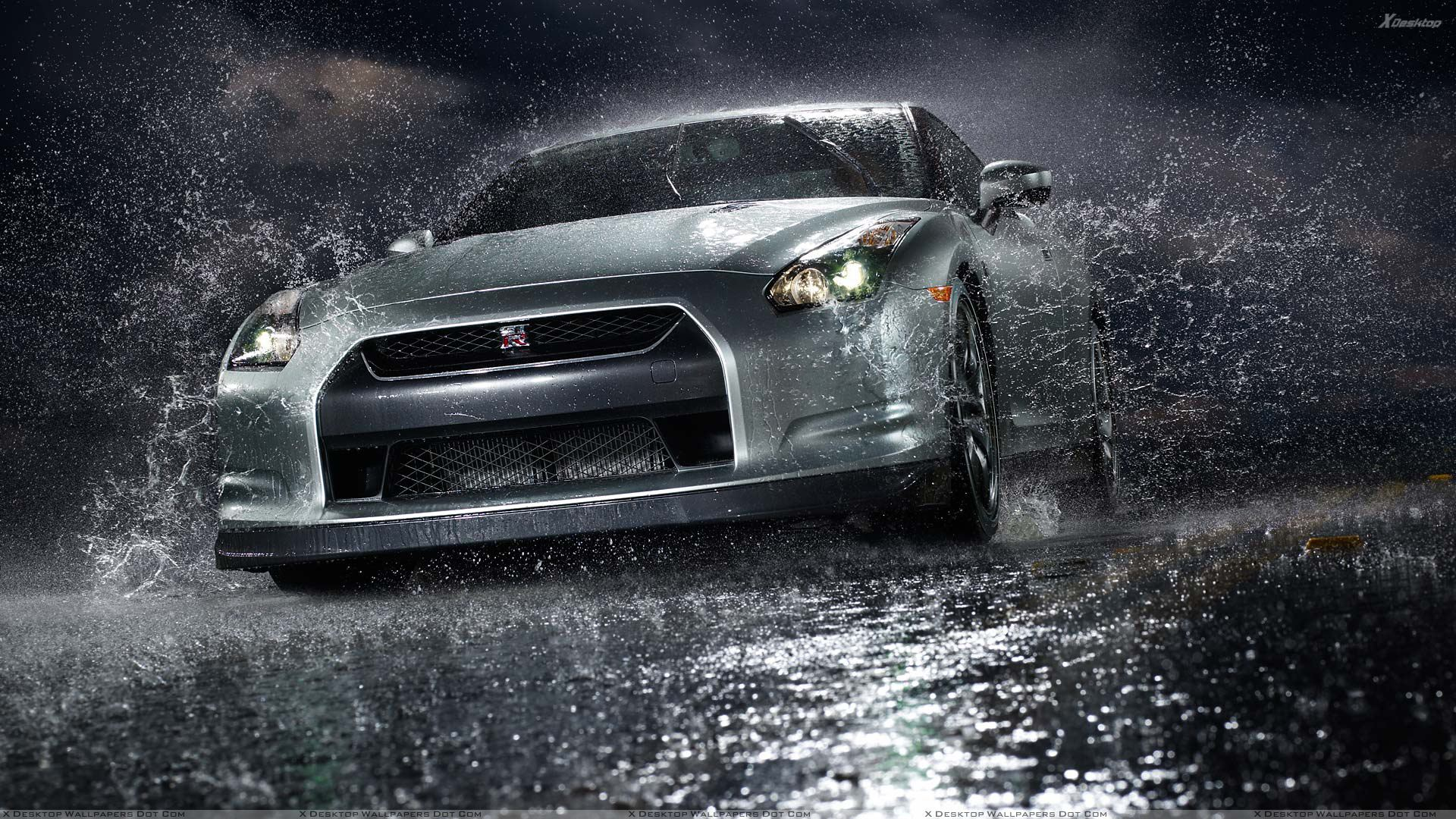 Nissan Gtr Front Pose After Rain In Black Night Wallpaper