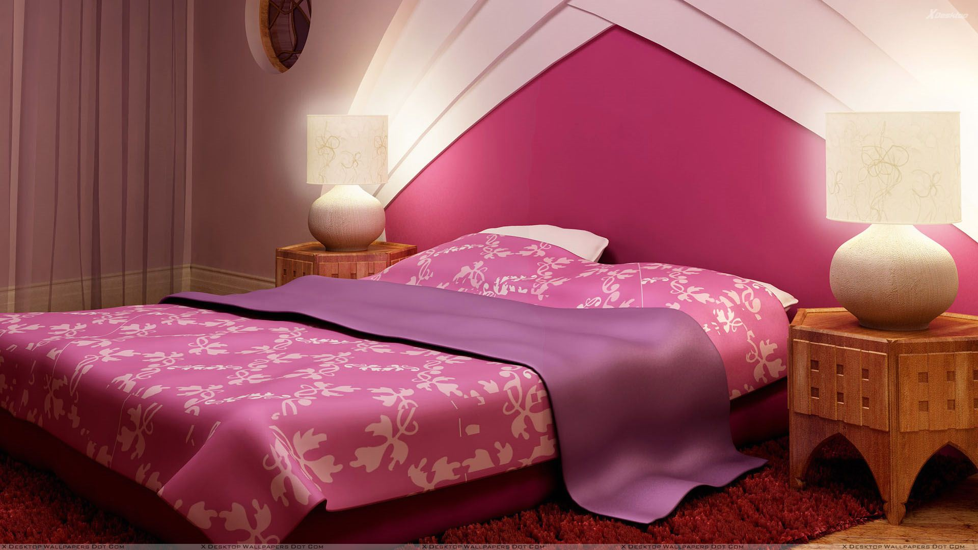 Pink Background And Pink Bed In Bedroom Wallpaper