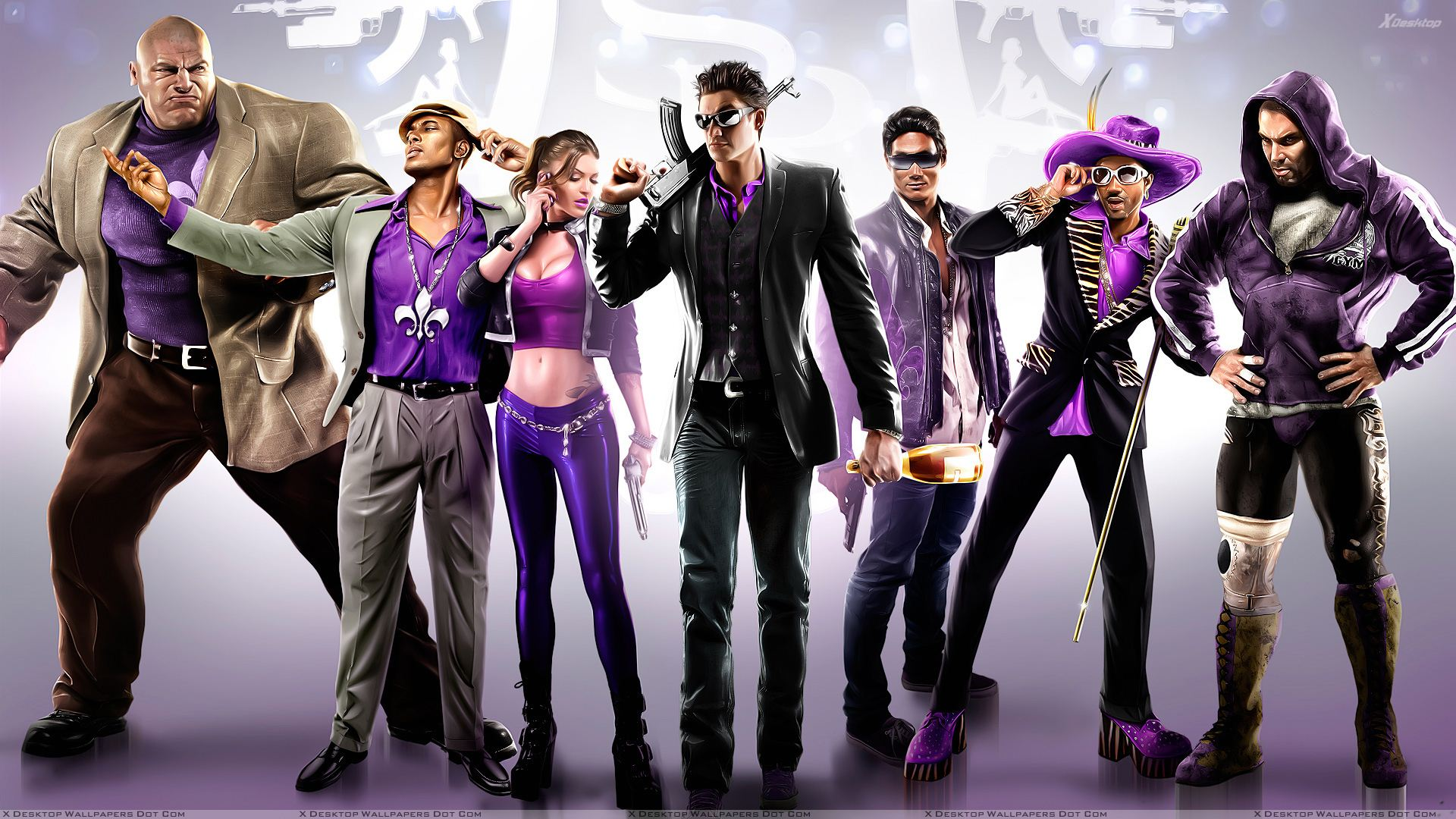 Saints row the third windows 7 theme with purple wallpapers.