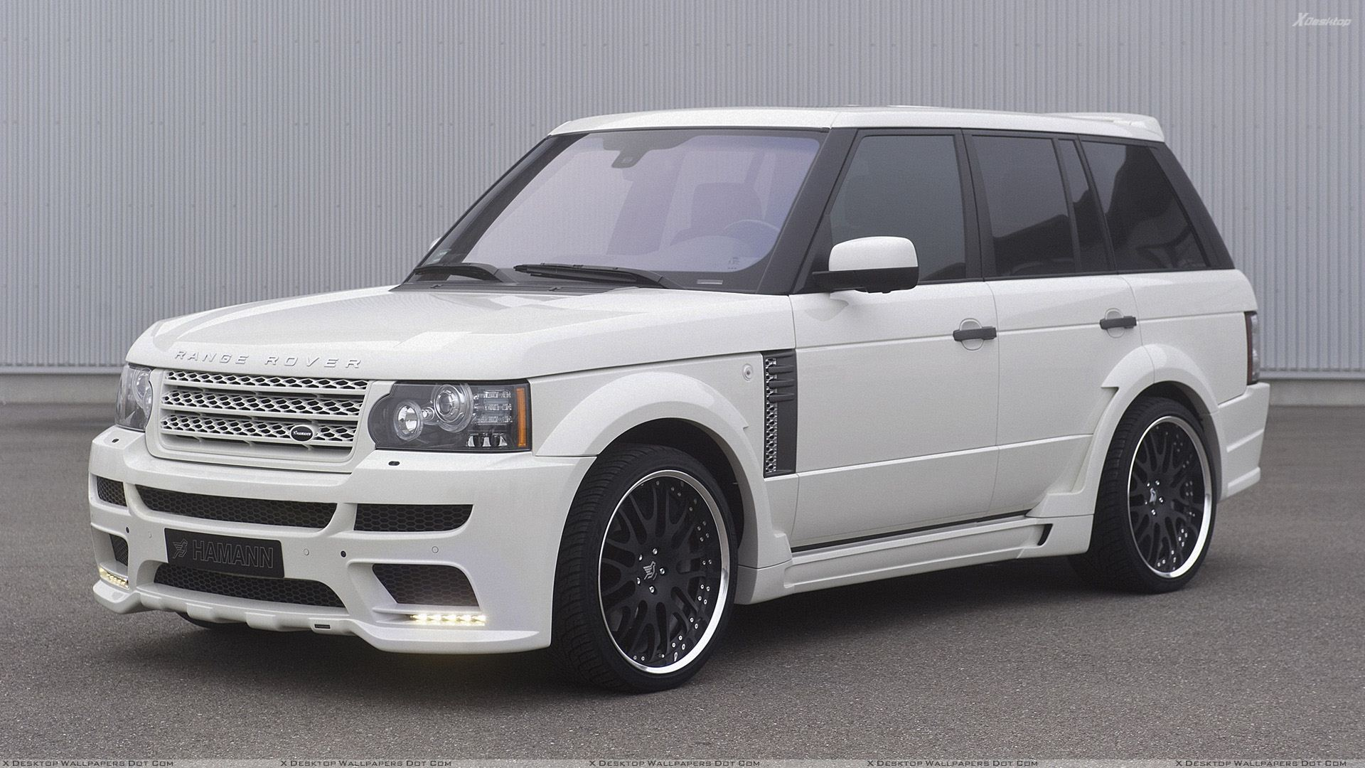 side pose of hamann range rover 5.0i v8 supercharged in white wallpaper