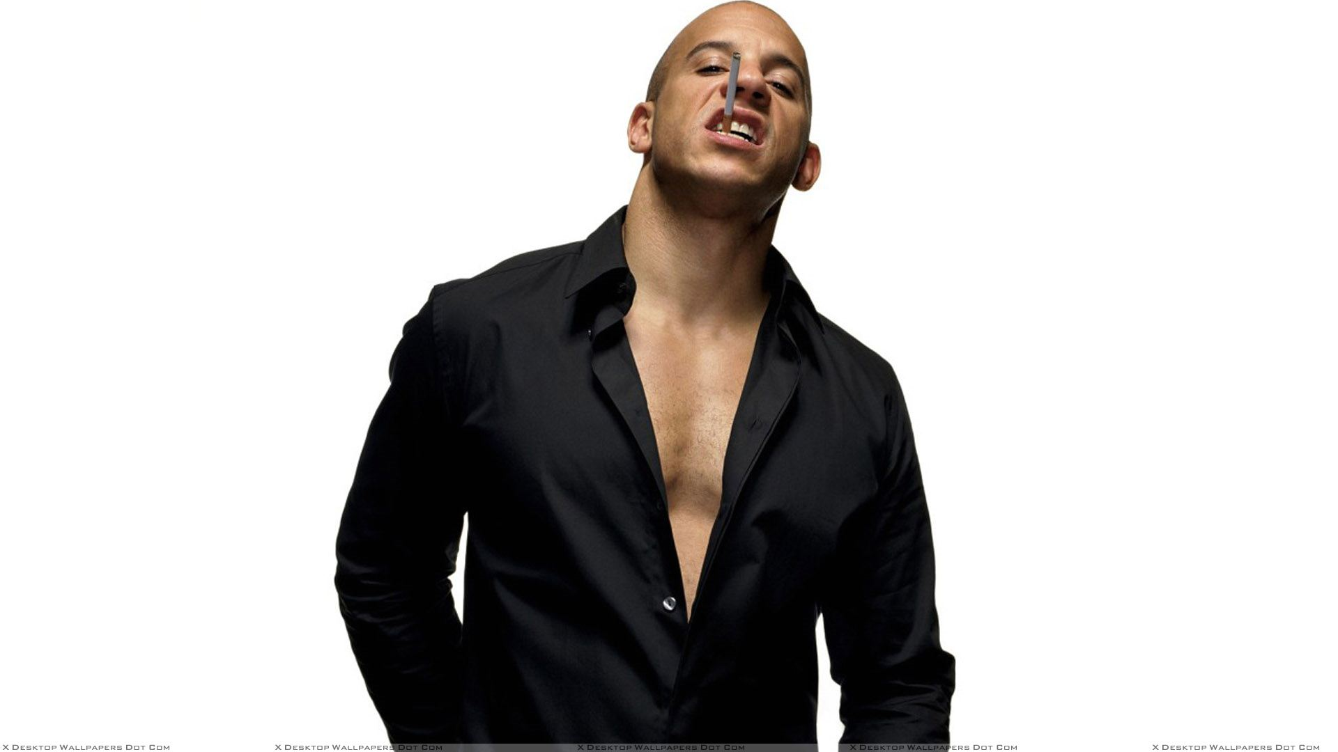 vin diesel cigarette in mouth in black shirt photoshoot wallpaper