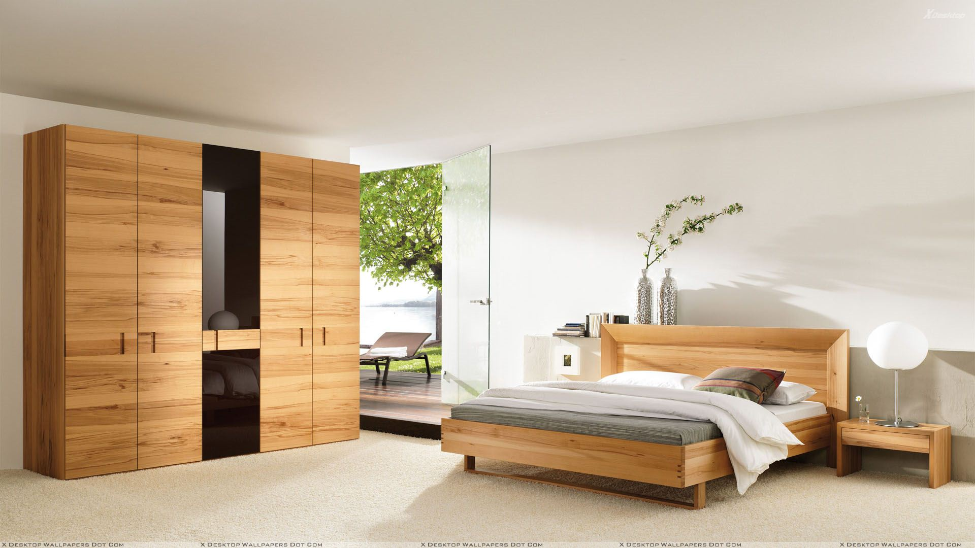 Wooden furniture and bed in bedroom wallpaper for Furniture and beds