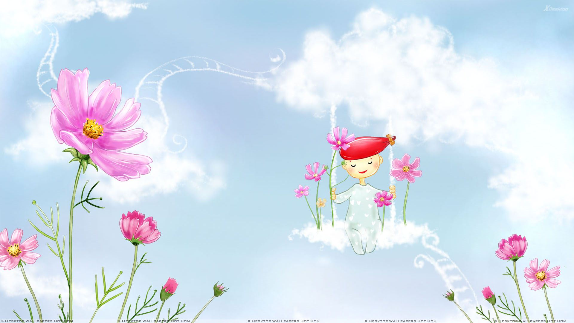 A Fairy And Pink Flowers Wallpaper