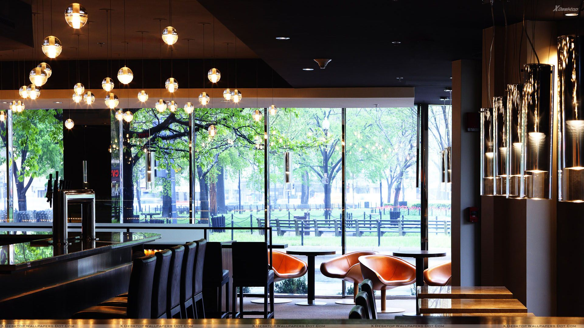 Chairs and table in coffee bar wallpaper for Restaurant window design