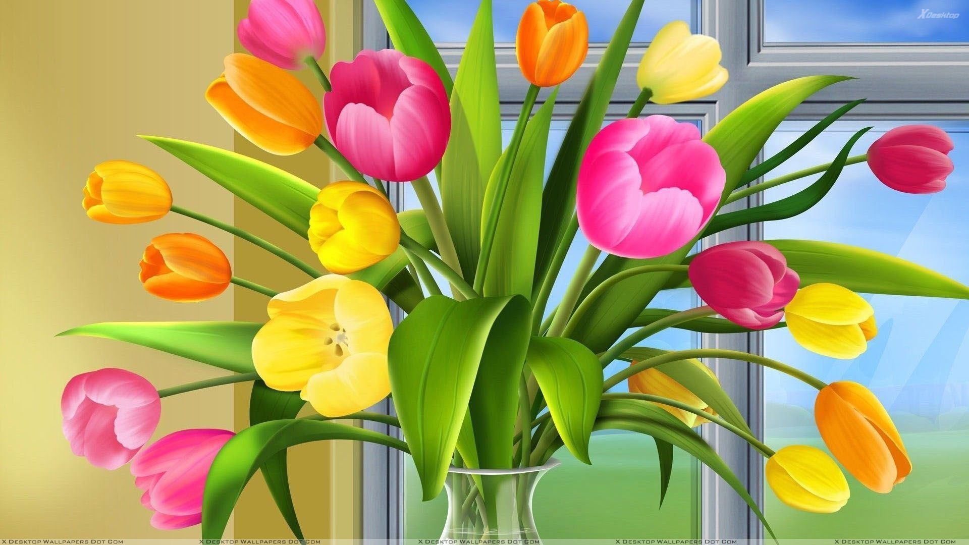 Colorful tulips in vase wallpaper you are viewing wallpaper titled colorful tulips in vase floridaeventfo Gallery