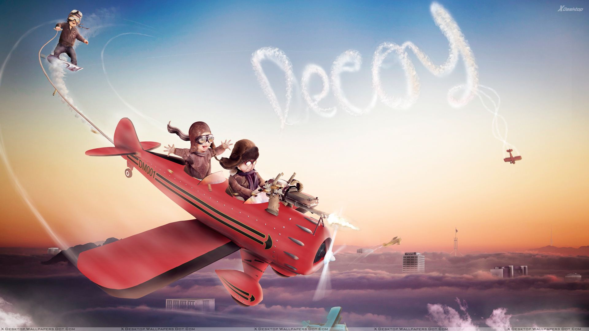 You Are Viewing Wallpaper Titled Cute Red Baron Flight Landing