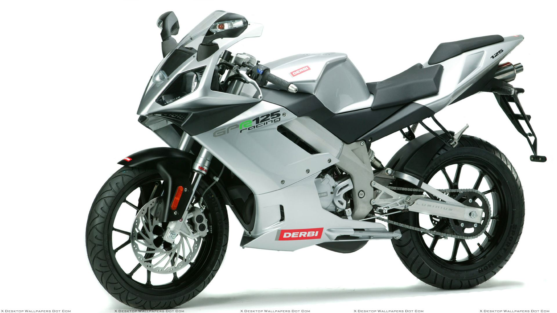 derbi gpr 125 racing in silver side pose and white backgound wallpaper. Black Bedroom Furniture Sets. Home Design Ideas