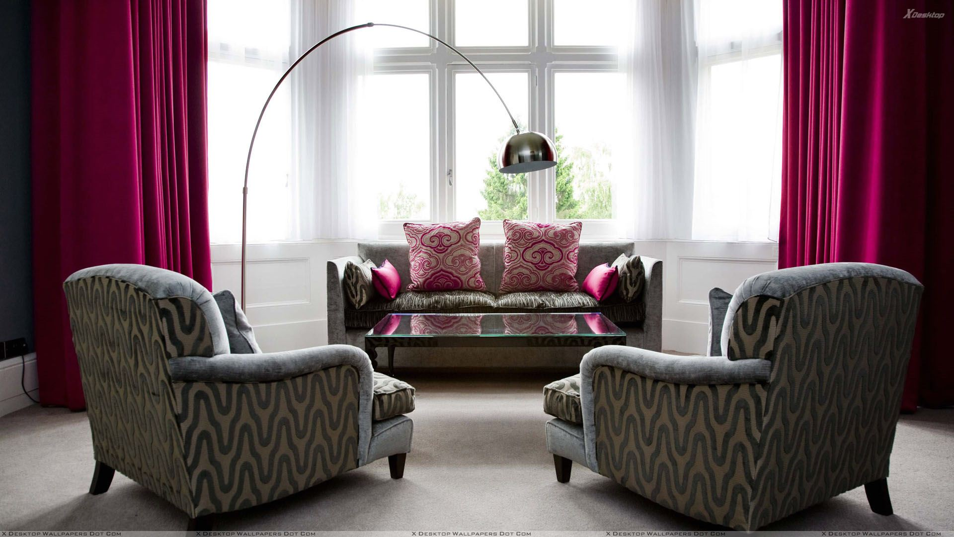 Grey Designing Sofa Set And Pink Curtains In Room Wallpaper