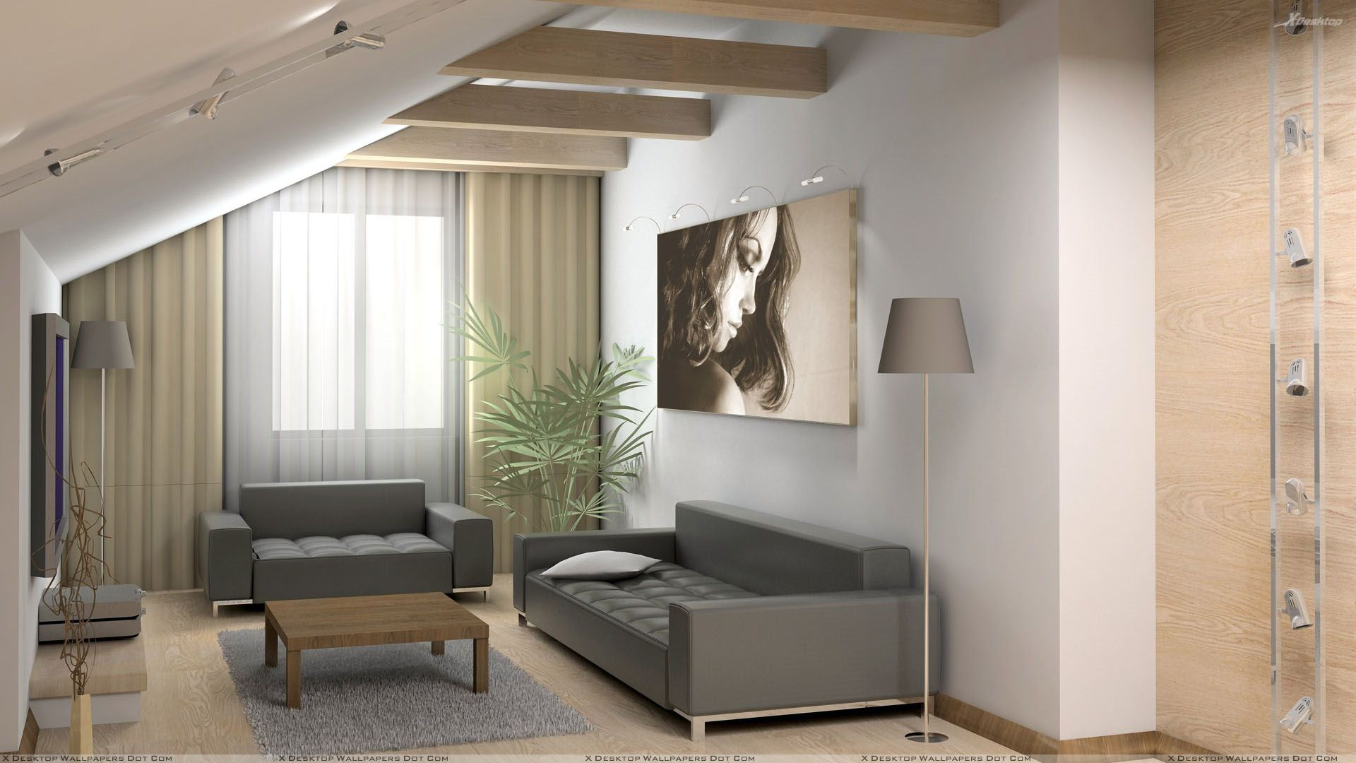 Grey Sofa And Picture On Wall Closeup Wallpaper