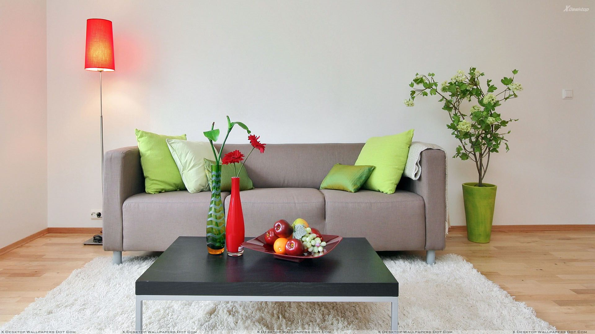 Grey Sofa Set And White Background And Fruits On Table Wallpaper