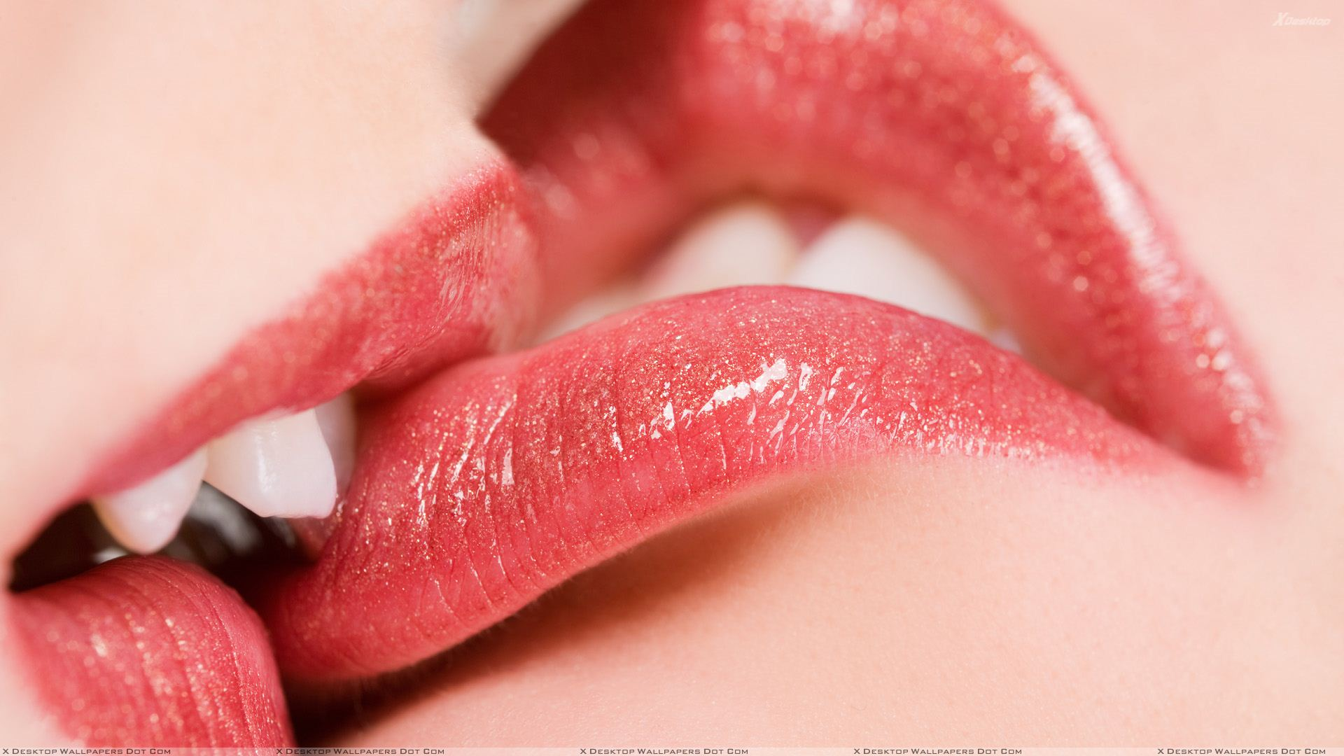 kissing glossy red lips closeup wallpaper