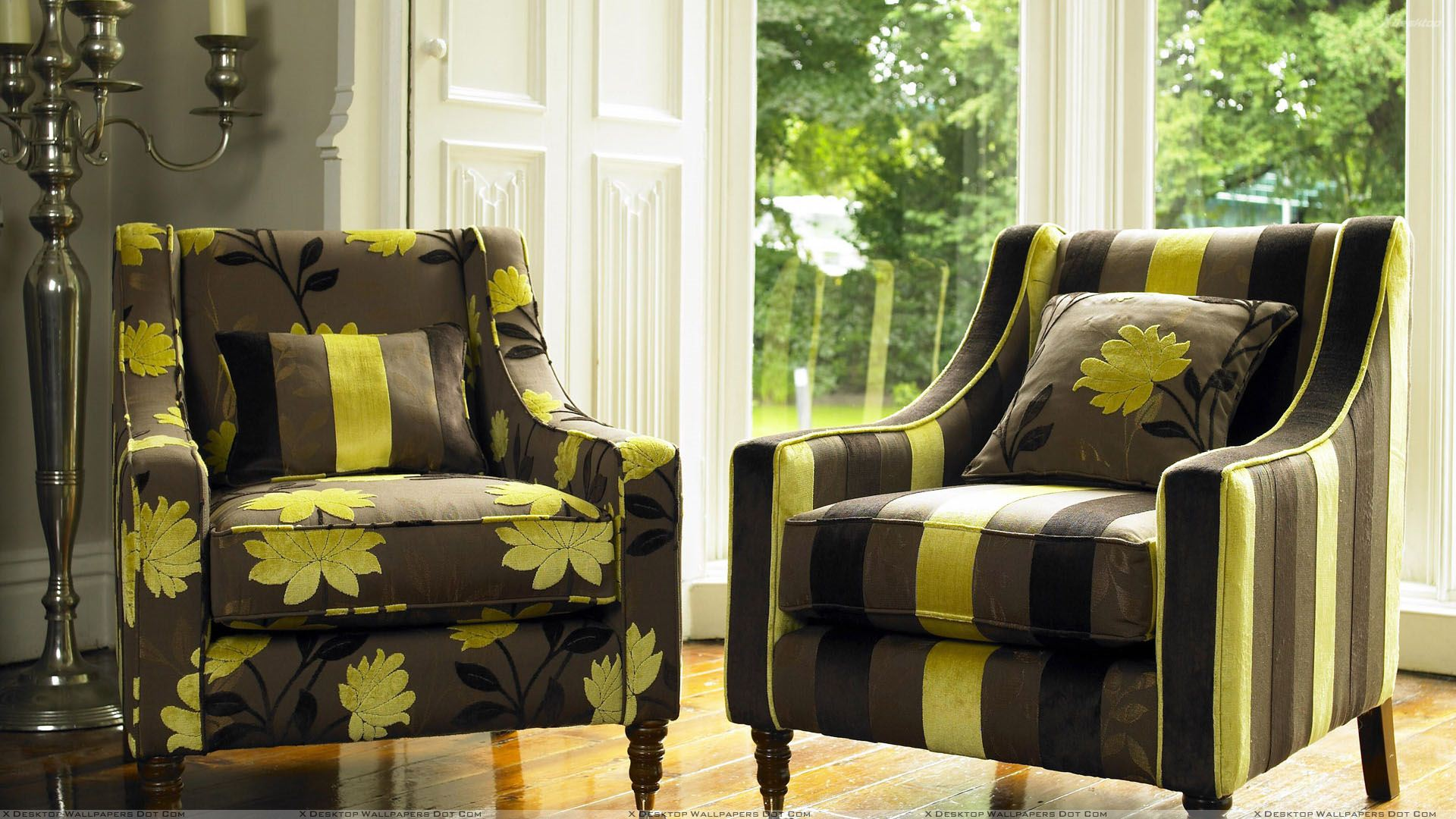 Superb Lining And Flower Print Sofa Set In Brown And Yellow Color Dailytribune Chair Design For Home Dailytribuneorg