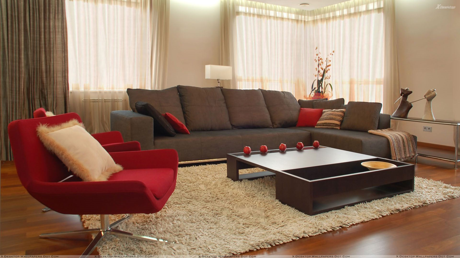Red and grey sofa in resting room wallpaper for Living room chair ideas