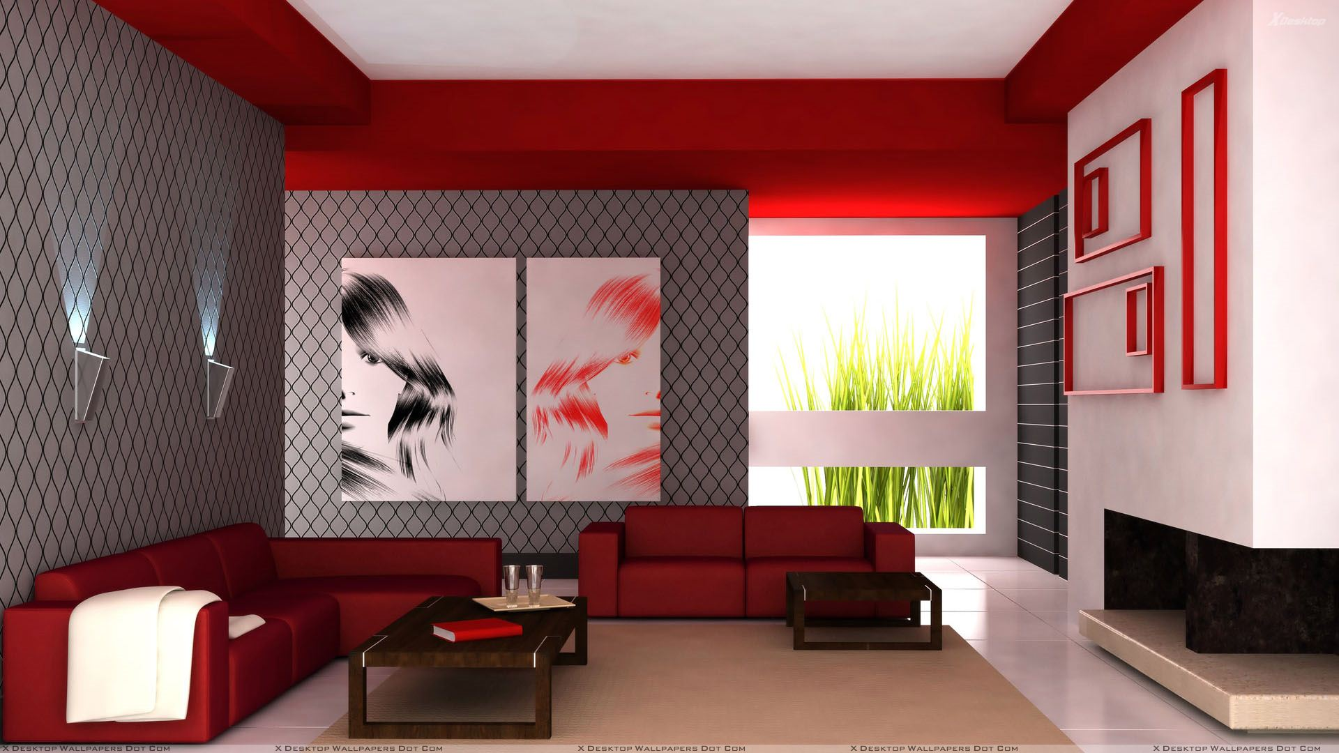 Red sofa and colorful background in guest room wallpaper for Red wallpaper designs for living room