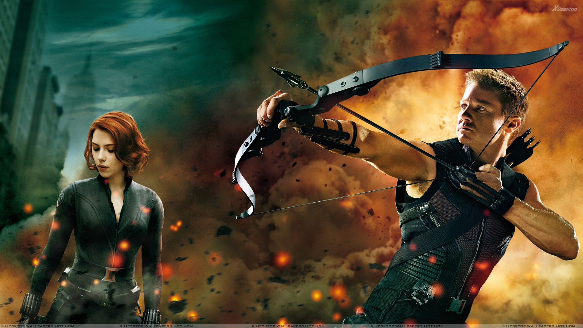 You Are Viewing Wallpaper Titled The Avengers Scarlett Johansson And Jeremy Renner Aiming