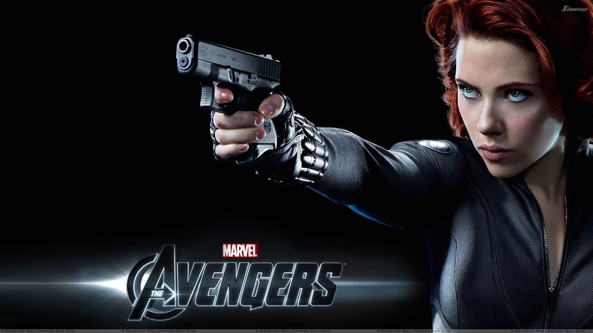 The Avengers Scarlett Johansson As Black Widow Gun In Hand Wallpaper