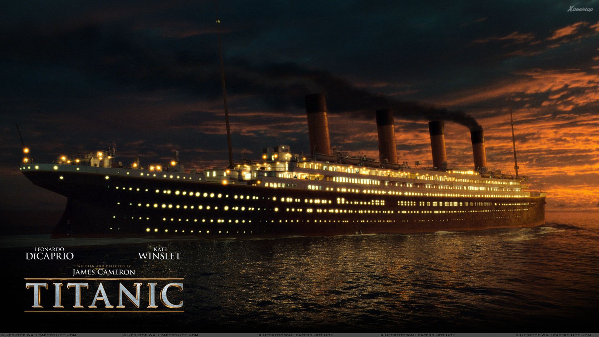 titanic – ship at sunset time wallpaper