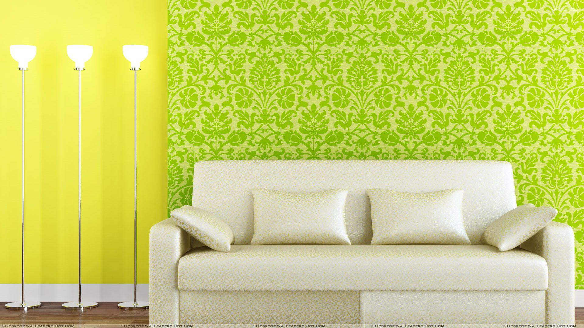 White Sofa And Green Yellow Background Wallpaper