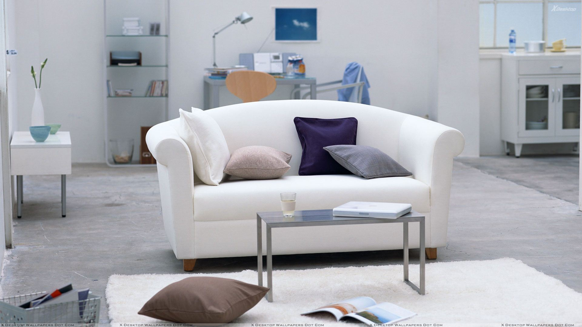 White Sofa And Table In Study Room Wallpaper