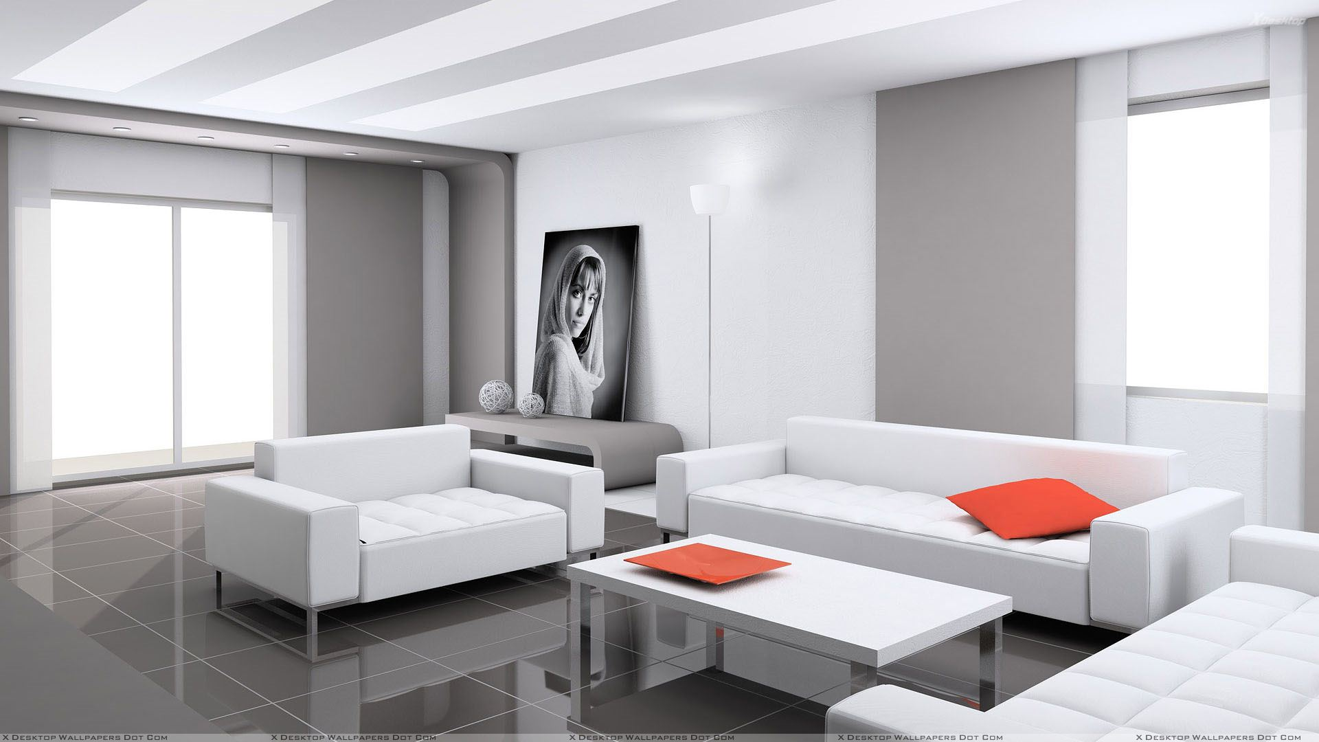 White Sofa And White With Grey Background Wallpaper