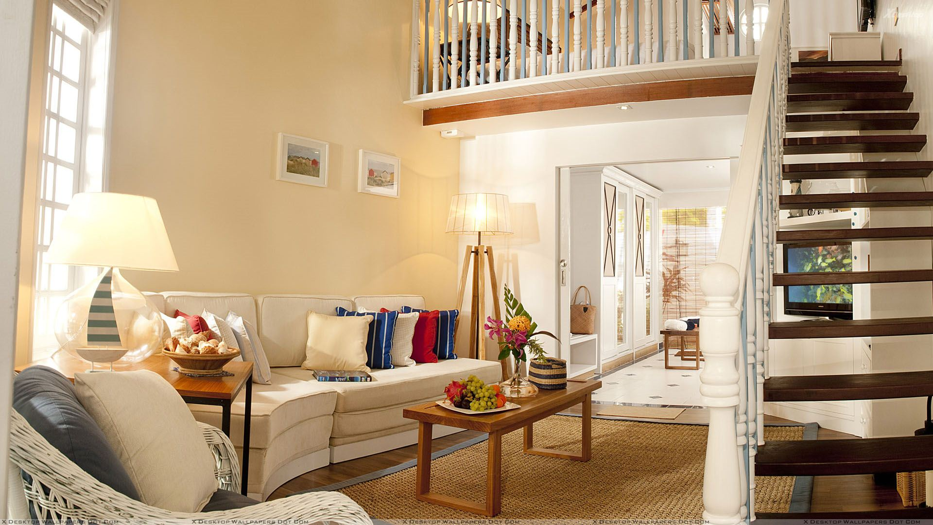 White Sofa Set And Side Stairs Closeup Wallpaper