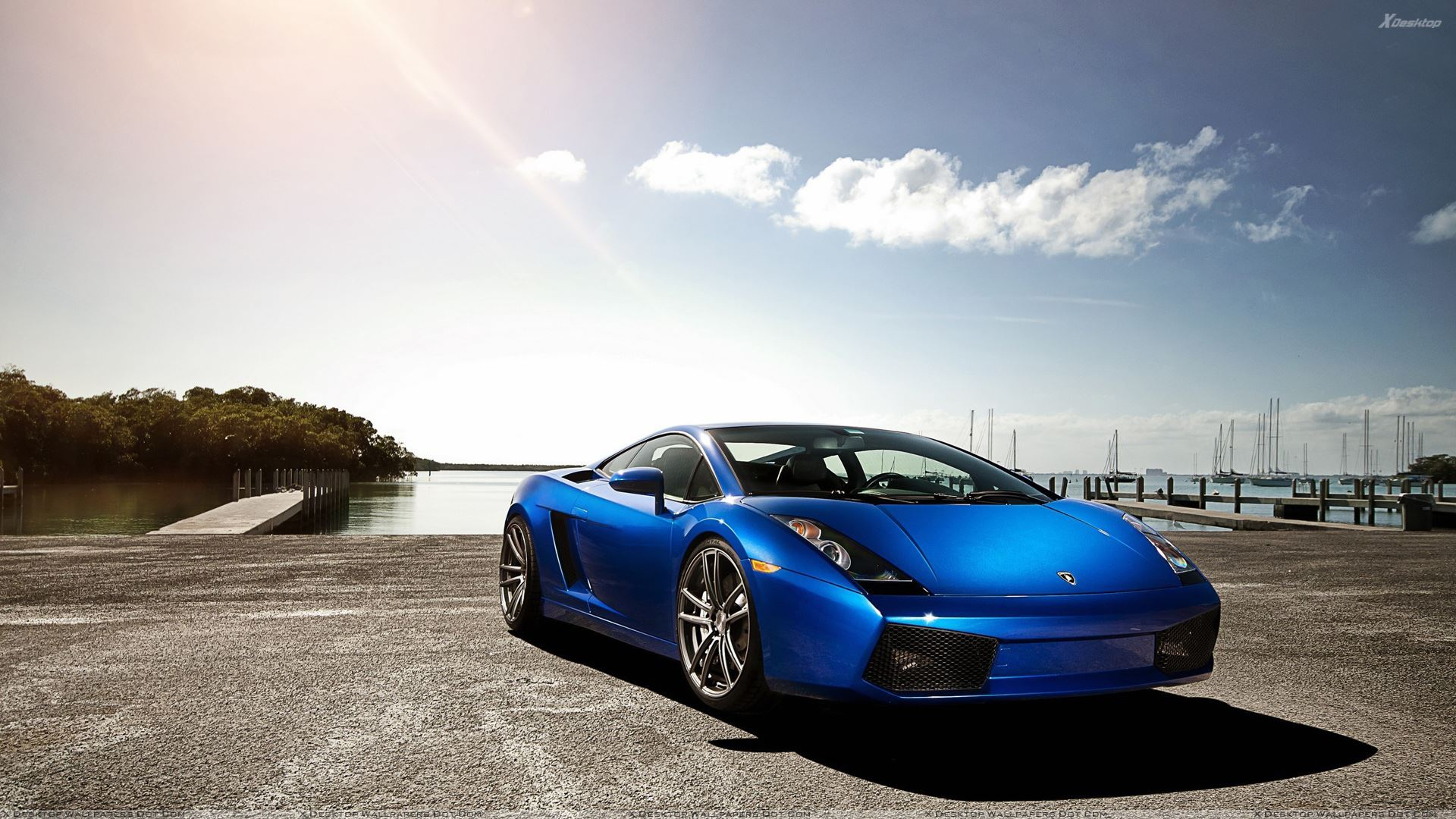 2012 Lamborghini Gallardo Lp560 Blue Color Front Wallpaper