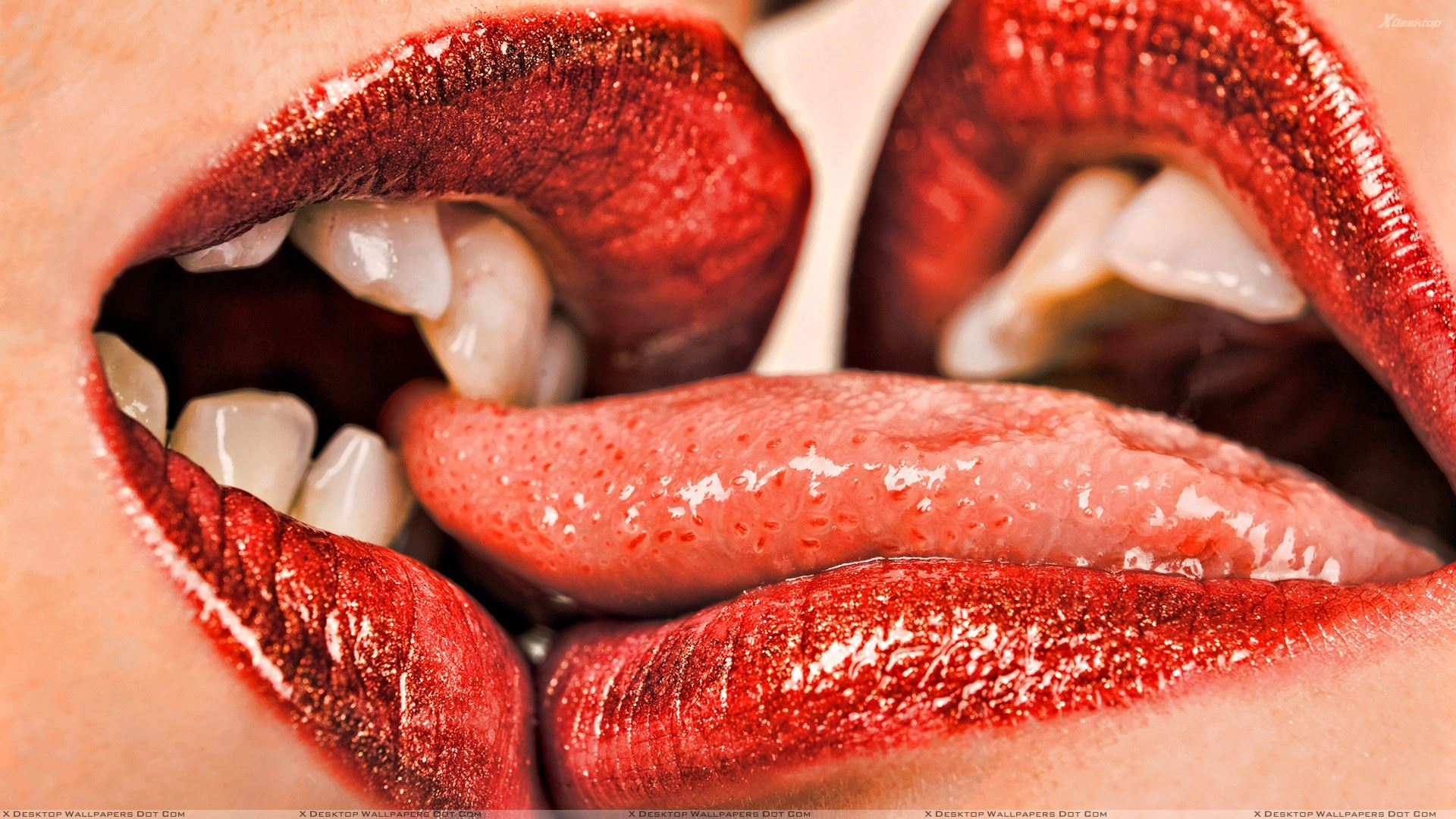 You Are Viewing Wallpaper Titled Kissing Shiny Red Lips