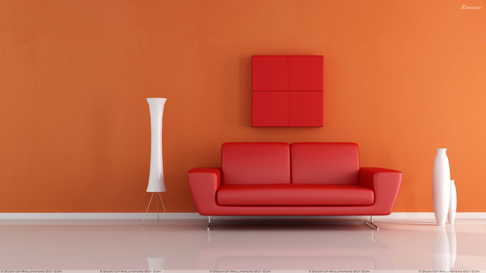 Red sofa near white vase n orange background wallpaper - Paint for exterior walls set ...